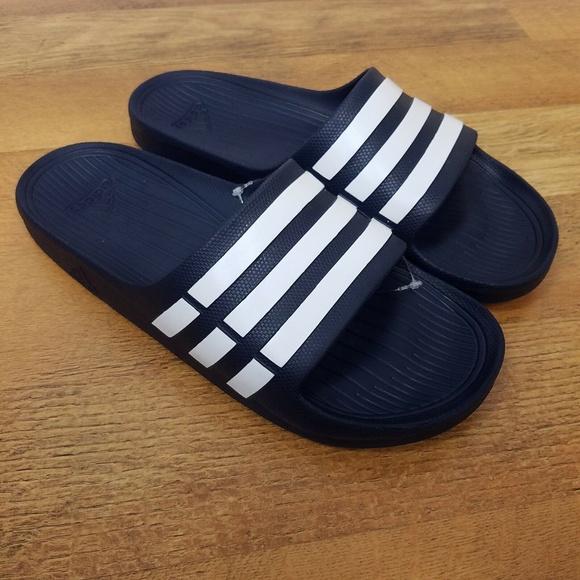 promo code b1399 85ce1 Adidas Duramo Slides Sandals Flip Flops size 10. NWT